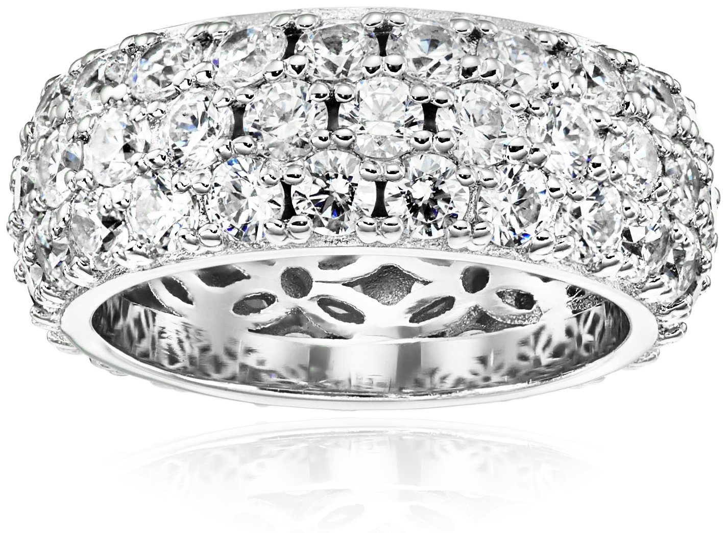 Platinum Plated Sterling Silver 3 Row Pave Ring set with Round Swarovski Zirconia (3.45 cttw), Size 8