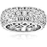 Platinum or Gold Plated 3-Row Round-Cut Pave Band Ring set with Swarovski Zirconia