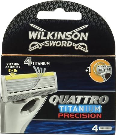 Wilkinson Quattro Titanium Precision - Cuchillas de afeitar (4 unidades)