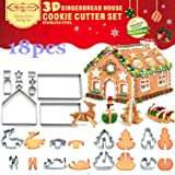 3D Christmas House Cookie Cutter Set, Gingerbread House Cutters Kit, Festive Xmas Stainless Steel Biscuit Cutter Set, Including Christmas Tree, Snowman, Reindeer, Sled Shapes, Gift Box Package(18 PCS)