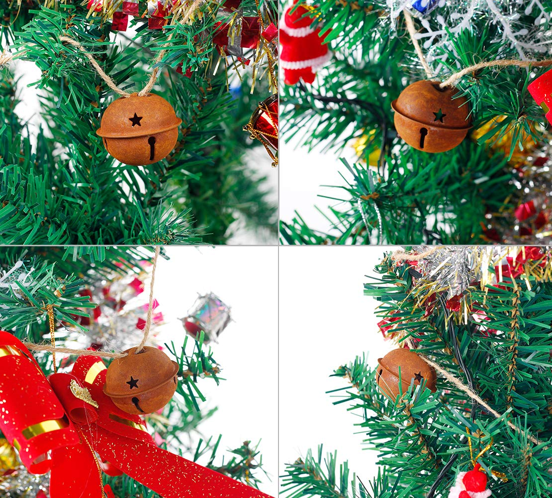 36Pcs Metal Jingle Bells 4cm//1.57inch Rusty Star Cutout Jingle Bells for Christmas Holiday and Craft Decorations