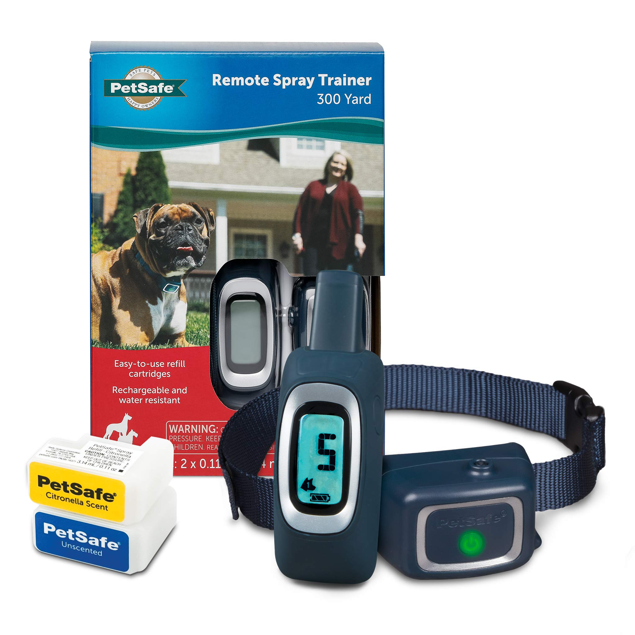 PetSafe Remote Spray Trainer - Collar and Remote for Dogs 8 lb. and Up, Fits Up to 27 in. Neck, 300 Yd. Range, Water Resistant and Rechargeable Collar with Citronella and Unscented Cartridges by PetSafe