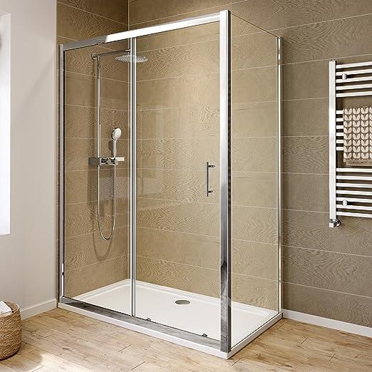 iBathUK - Mampara de puerta corredera y plato de ducha, 6 mm, 1400 x 800: iBathUK: Amazon.es: Hogar