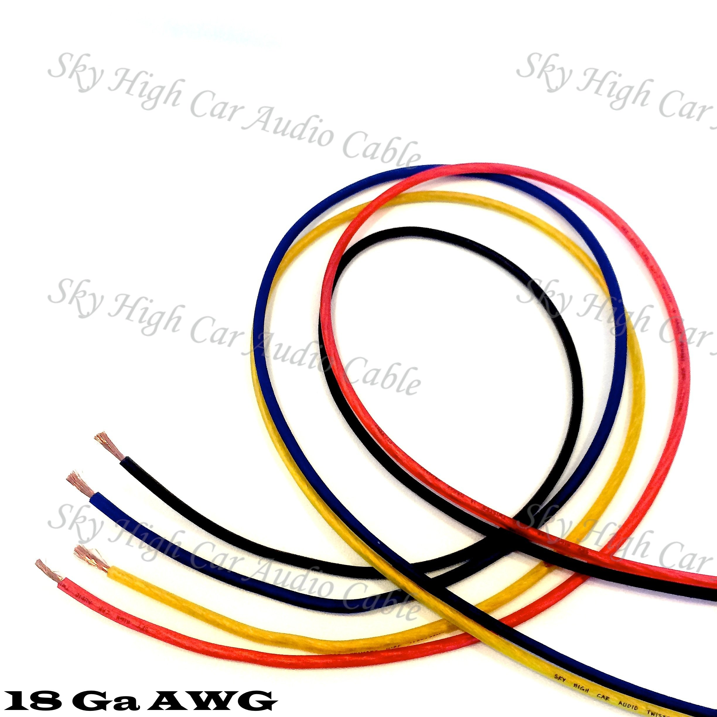 100' EACH RED, BLUE, BLACK, YELLOW - 400 ft 18 Ga AWG Primary / Remote Wire Lead
