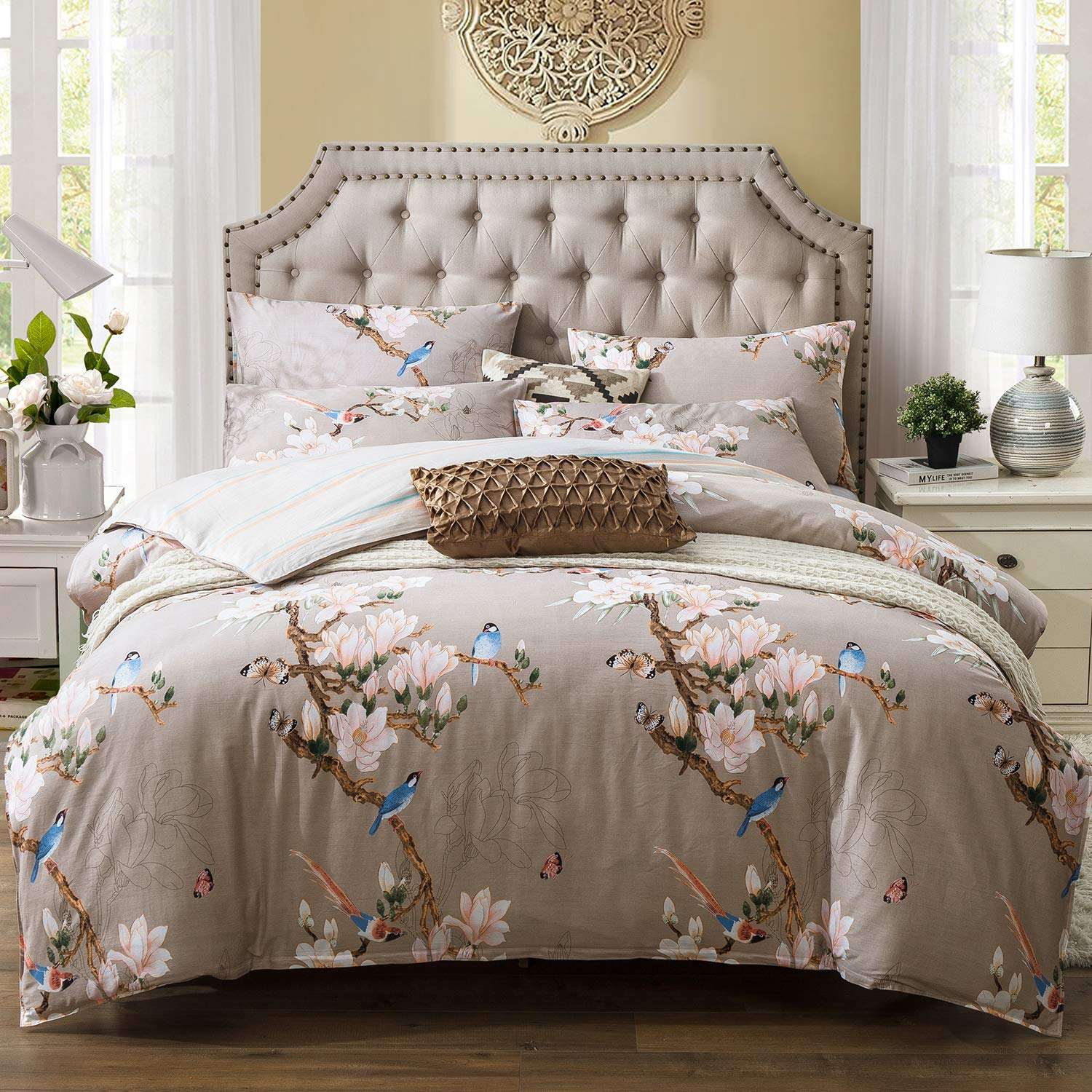 Kosa Bedding 3 Pieces Duvet Cover Set,Botanical Flowers and Birds Pattern Printed, Premium Cotton, Comforter Cover with Zipper Closure,Reversible Pattern Bedding Set (Twin Size)