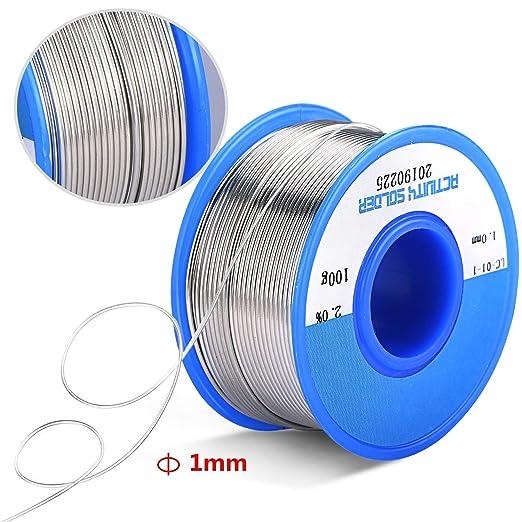 Bearbro 1mm alambre para soldar sin plomo,Núcleo de Colofonia para Soldadura Eléctrica, Sn97.3% Colofonia 2% Cu0.7% 100 g (2 PCS): Amazon.es: Bricolaje y ...