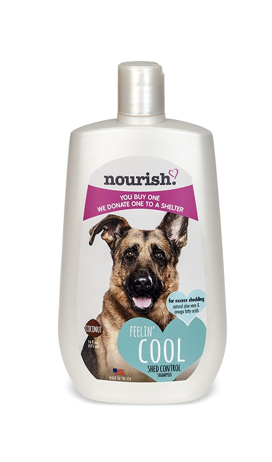 Nourish Shed Control Dog Shampoo, Natural Coconut Verbena 16 oz You Buy 1, We Donate 1 to a Shelter, Made in USA, PH Balanced