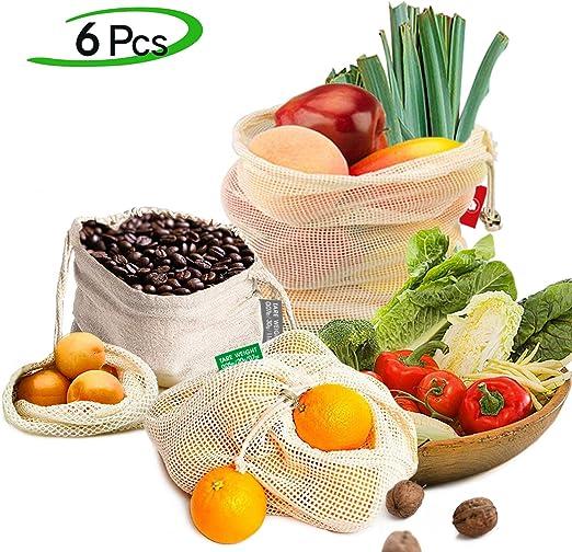EzLife Bolsas Reutilizables Compra, Bolsas Reutilizables Fruta de Algodon Ecológicas Lavable y Transpirable Bolsa de Malla para Fruta Verduras Juguetes -6 Pcs (1*Bolsas de Tela,1*S, 2*M, 2*L): Amazon.es: Hogar