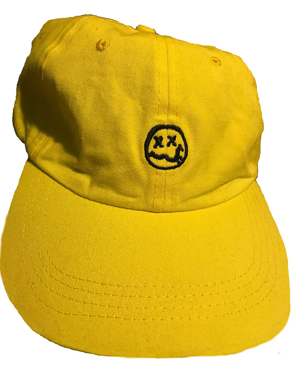 ada7630f7ee Nirvana logo smile smiley face embroidered dad hat baseball cap yellow at  amazon mens clothing store
