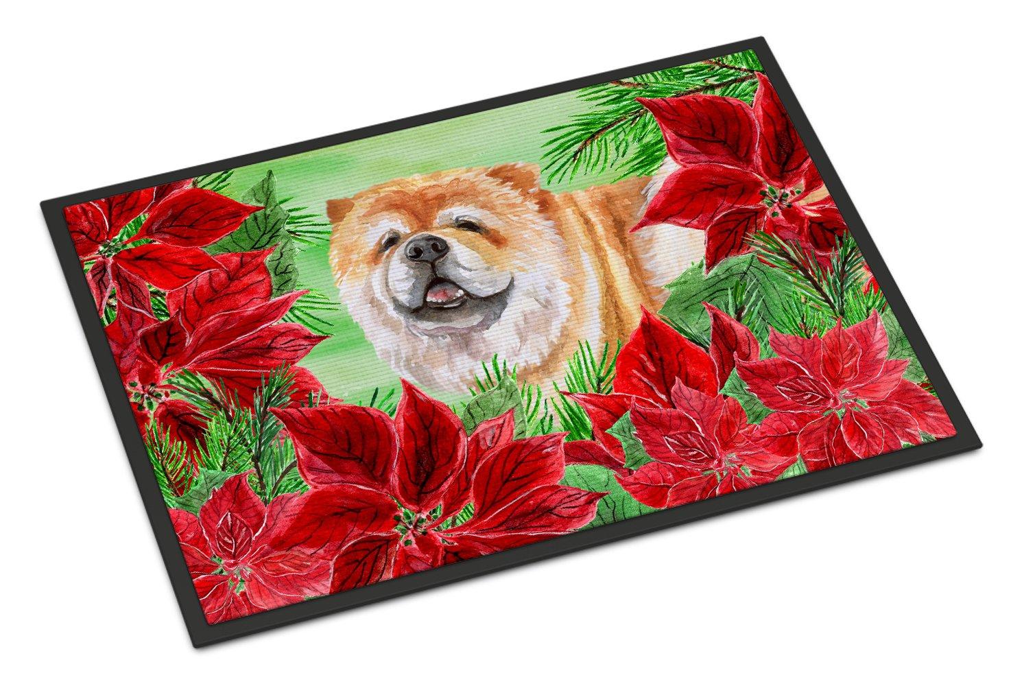 Carolines Treasures Shih Tzu Poinsettias Doormat 24 x 36 Multicolor