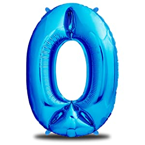 envami Globos de Cumpleãnos 0 Azul I 101 CM Globo 0 I Globo Numero 0 I Decoracion Cumpleaños Niños I Globos Numeros Gigantes para Fiestas I Vuelan con Helio