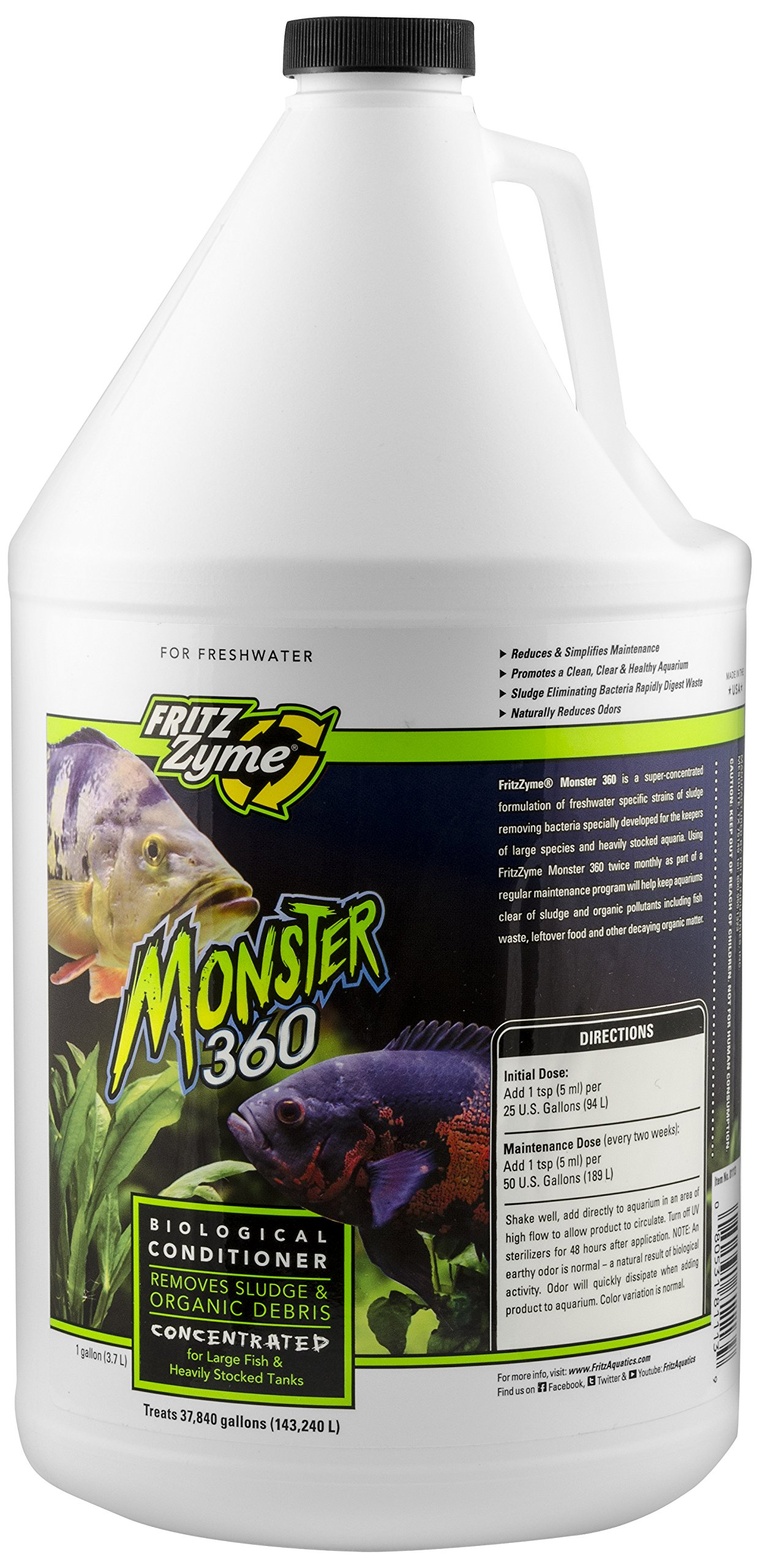 Fritz Aquatics 75128 FritzZyme Monster 360 Concentrated Biological Conditioner for Fresh Water Aquariums, 1-Gallon