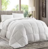 """Oversized Queen 92""""x96"""" White Down Alternative Comforter Duvet Insert - Corner Tabs, Double Stitches, Piped Edges, Siliconized Fiber, Protects Against Dust Mites, Hypoallergenic, Allergy Free"""