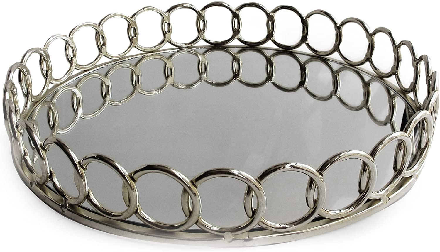 American Atelier 1332747 Looped Round Mirror Tray Silver
