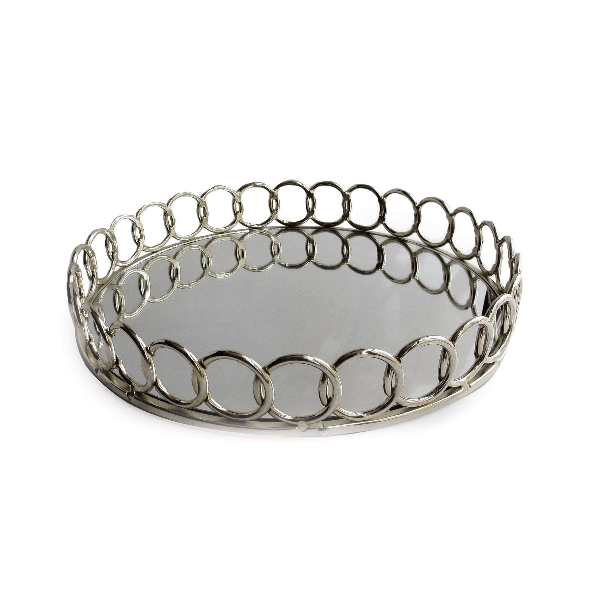 American Atelier 1332747 Looped Round Mirror Tray, Silver by American Atelier