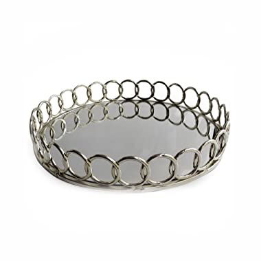 American Atelier 1332747 Looped Round Mirror Tray, Silver