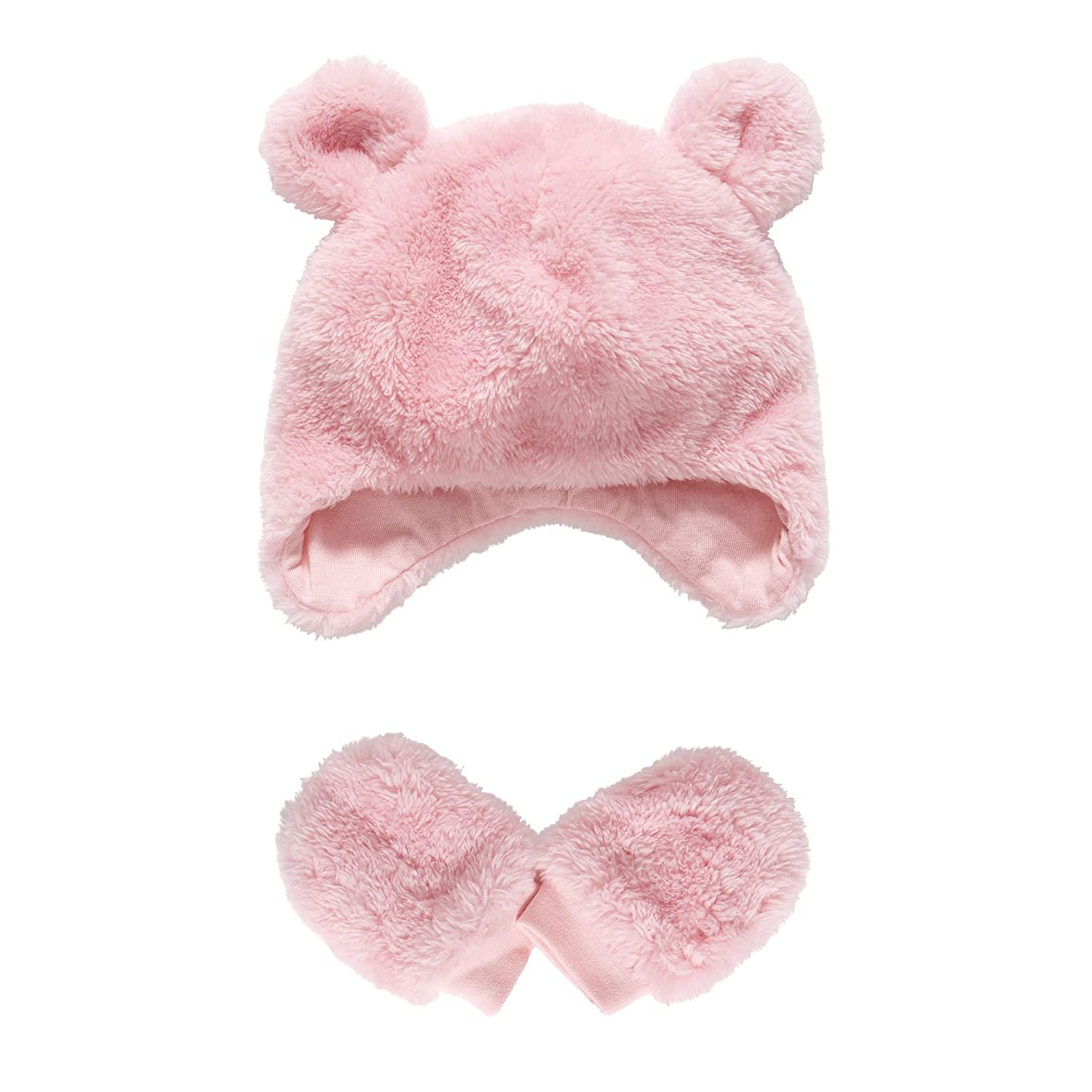 Pink Fluffy Trapper Hat and Mittens Mothercare MA623