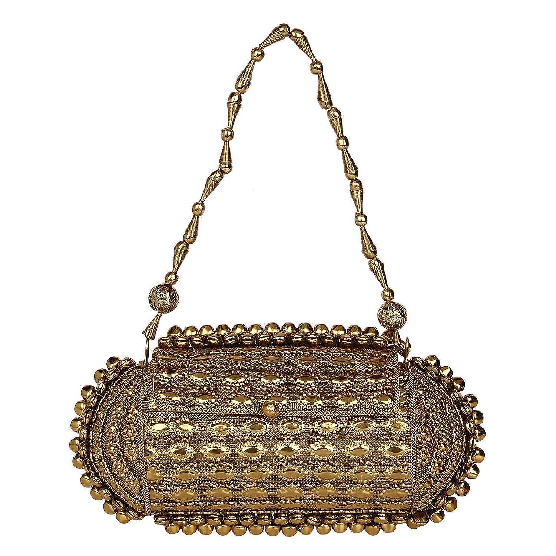 Saashiwear women Indian ethnic handmade embroidered party bridal handbag clutch tote wristlet purse