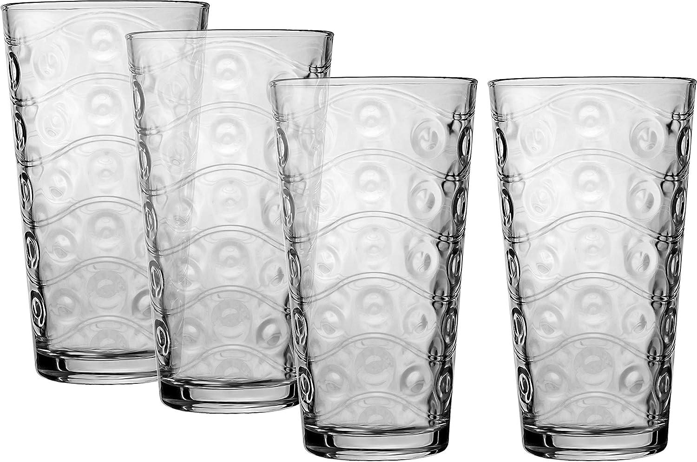 Circleware desfile vasos, juego de 4, 17 oz, transparente: Amazon.es: Hogar