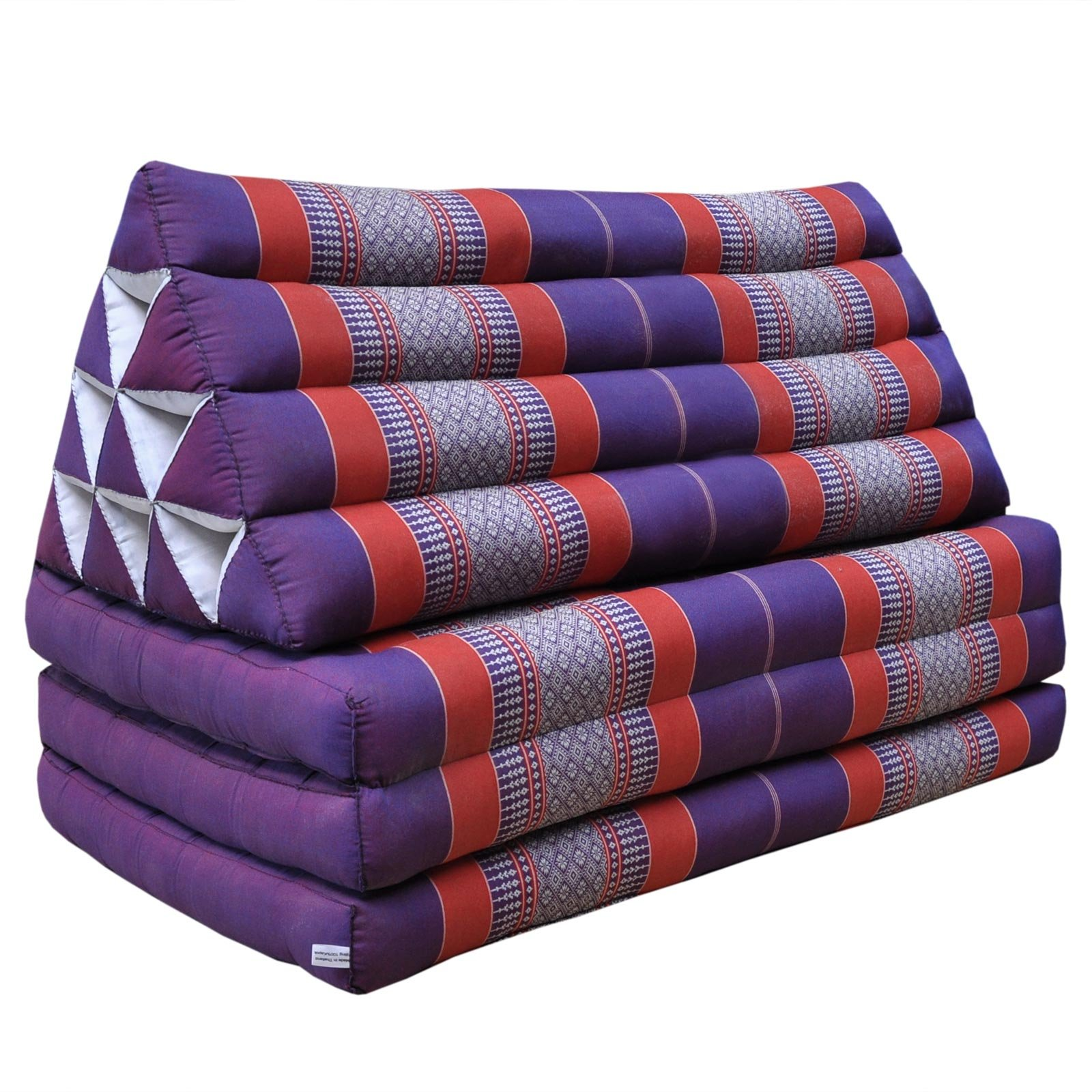 Thai triangle cushion/mattress XXL, with 3 folding seats,sofa, relaxation, beach, pool, meditation, yoga, made in Thailand Violet/Red (81518) by Wilai GmbH