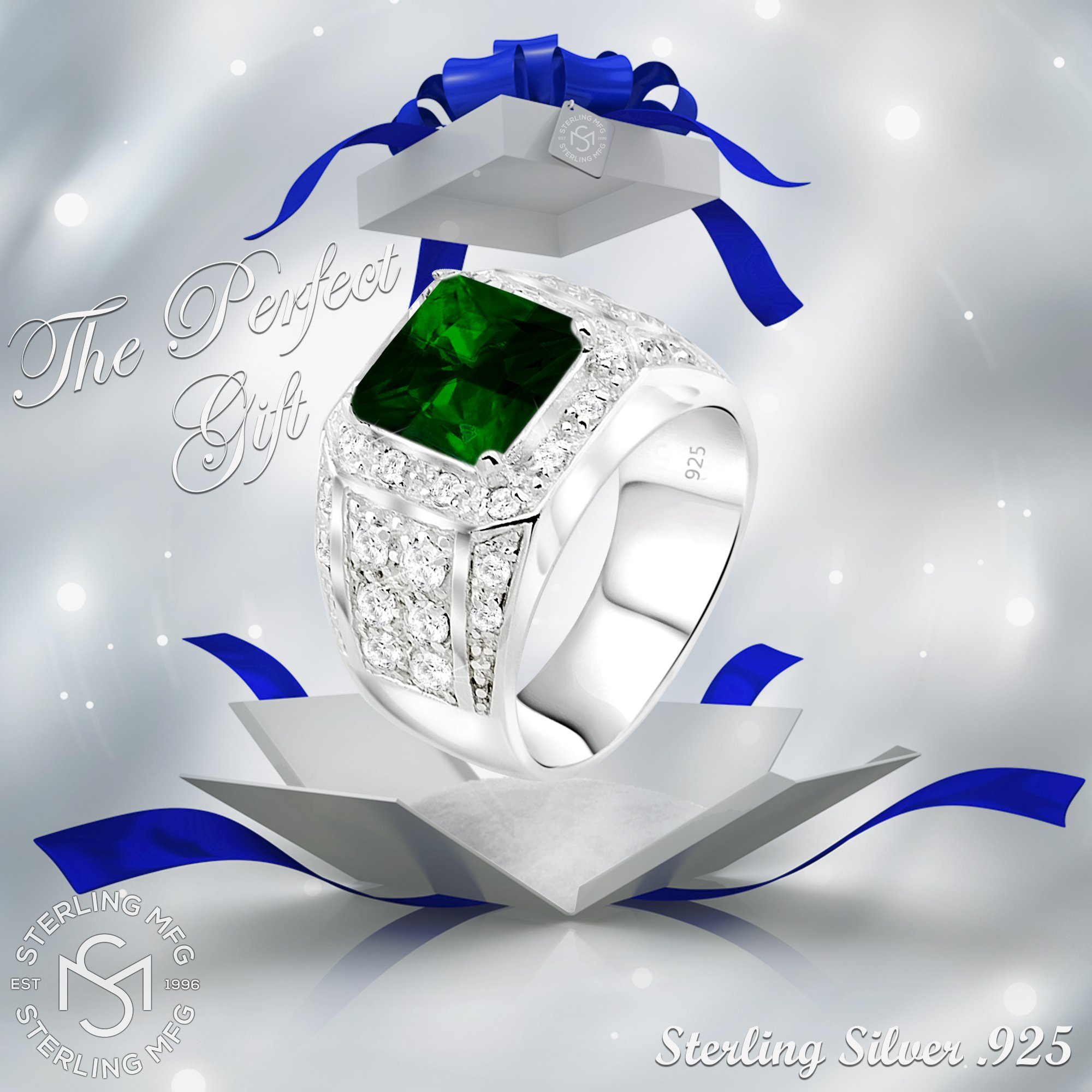 Men's Elegant Sterling Silver .925 Ring High Polish Princess Cut Featuring a Synthetic Green Emerald and 32 Fancy Round Cubic Zirconia (CZ) Stones by Sterling Manufacturers (Image #8)