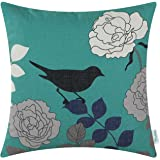 CaliTime Canvas Throw Pillow Cover Case for Couch Sofa Home Decor, Floral Cartoon Shadow Bird Silhouette 18 X 18 Inches Teal Ground Black Bird
