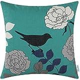 CaliTime Canvas Throw Pillow Cover Case for Couch Sofa Home Decor, Floral Cartoon Shadow Bird 18 X 18 Inches Teal Ground Black Bird