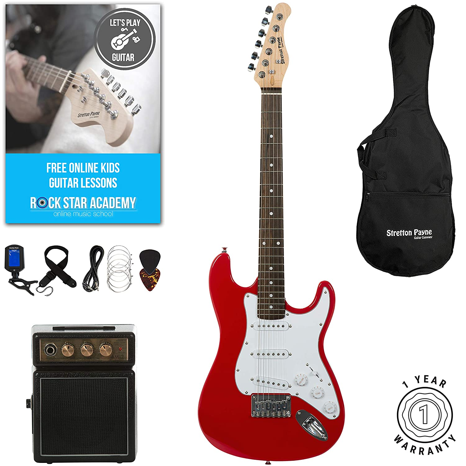 Stretton Payne 7/8 Size Electric Guitar with practice amplifier, padded bag, strap, lead, plectrum, tuner, spare strings. Guitar in Black SPE78BK