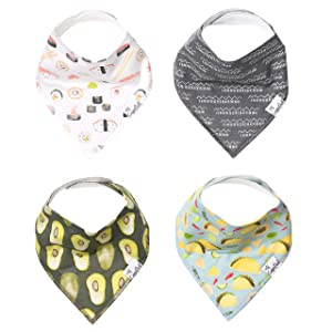 """Baby Bandana Drool Bibs for Drooling and Teething 4 Pack Gift Set """"Baja"""" by Copper Pearl"""