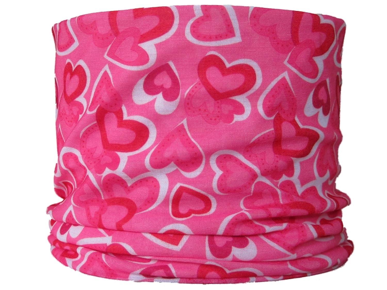 Braga para el cuello, pañuelo de microfibra multifunción, diseño de corazones de color rosa de fondo wendywwoo