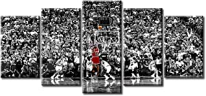 Michael Jordan Poster Wall Art 5 Piece NBA Finals Basketball Room Decor Canvas Printing Posters Black and White Sports Wooden Framed Artwork Picture for Boys Bedroom Home Decorations 50