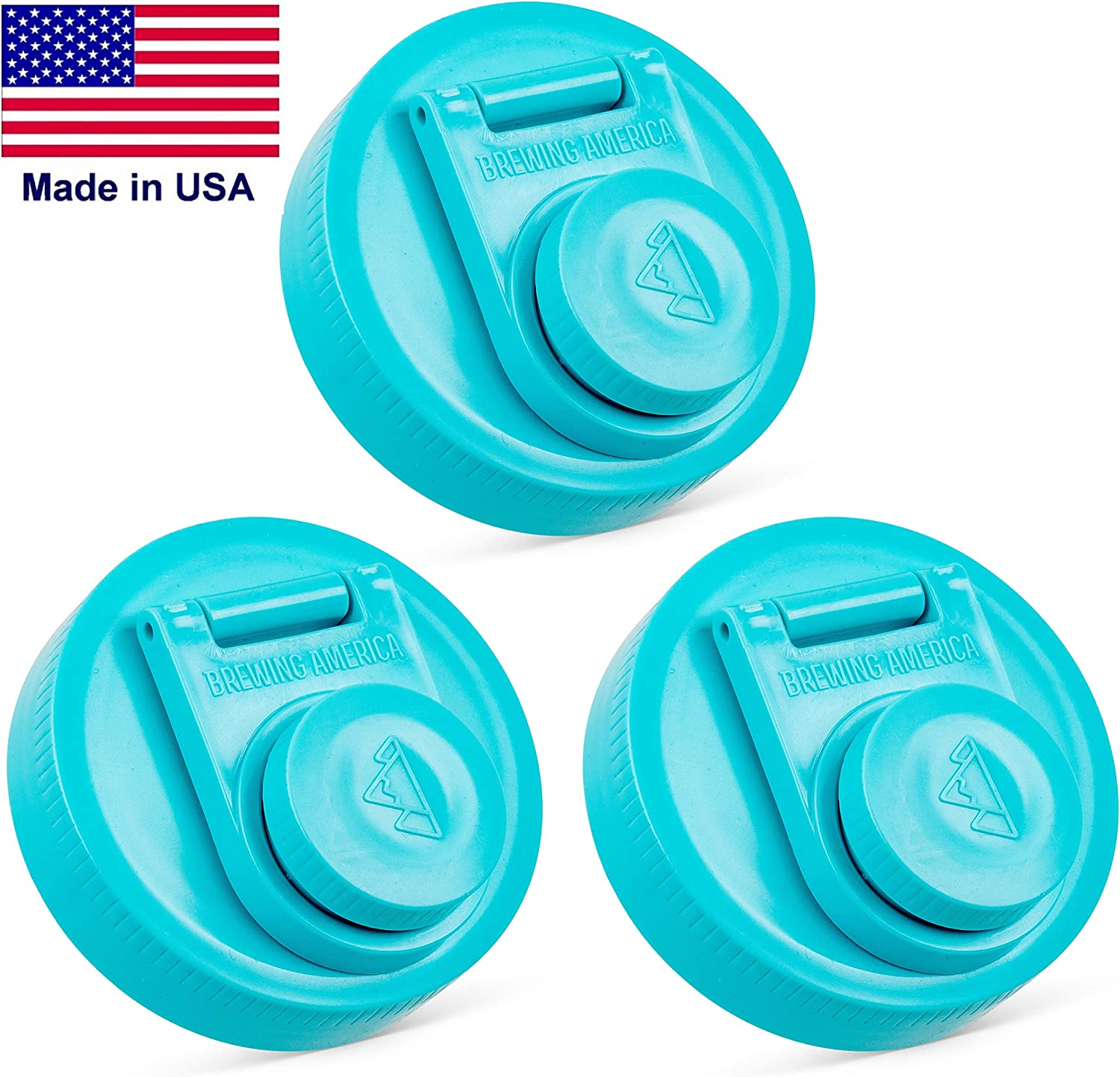 Mason Jar Lids Wide Mouth Plastic 3 Pack - Leak Proof with Flip Cap Pouring Spout and Drink Hole - Fits Kerr and Ball Canning Jars - Wet /Dry Food and Liquid Storage - MADE IN USA - Teal 3pk