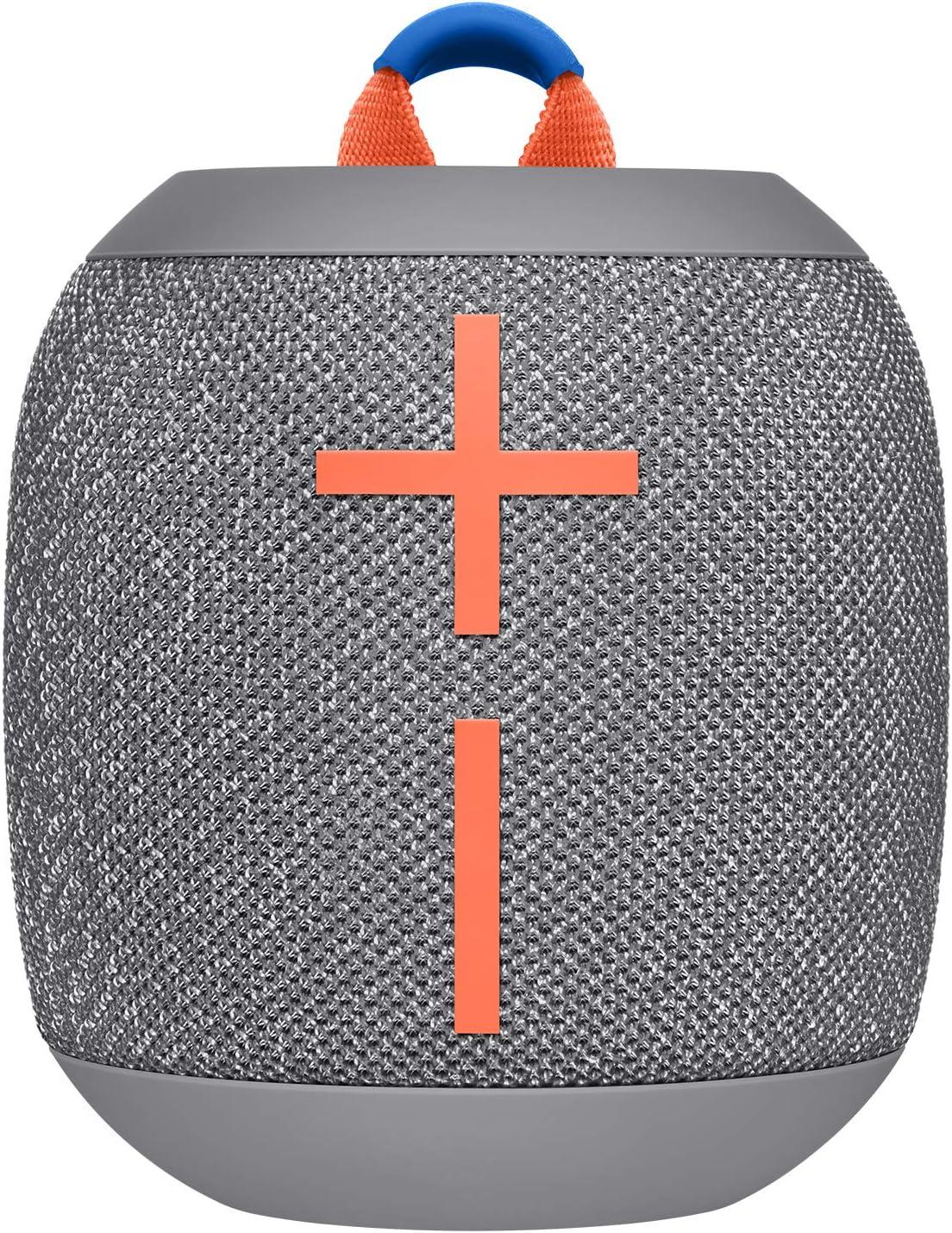 Wonderboom2 speaker in grey color with orange details on front