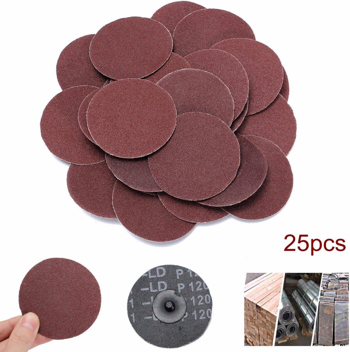Jeteven 3 Inch Roll Lock Sanding Discs Sandpaper Grinding Disc Change Discs 25 PCS Abrasive Paper for Die Grinder 120 Grit