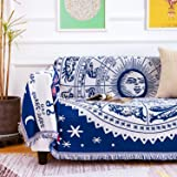 MayNest Boho Woven Throw Blanket Reversible Cotton Bohemian Tapestry Hippie Room Decor Witchy Astrology Zodiac Celestial Cons