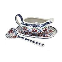 Blue Rose Polish Pottery Red Poppy Gravy Boat & Ladle