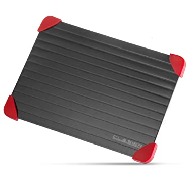Clasier Fast Defrosting Tray with Red Silicone Rubber Corner Feet–Thaws Frozen Food Faster - No Electricity, No Microwave or Hot Water Needed (Color Black)