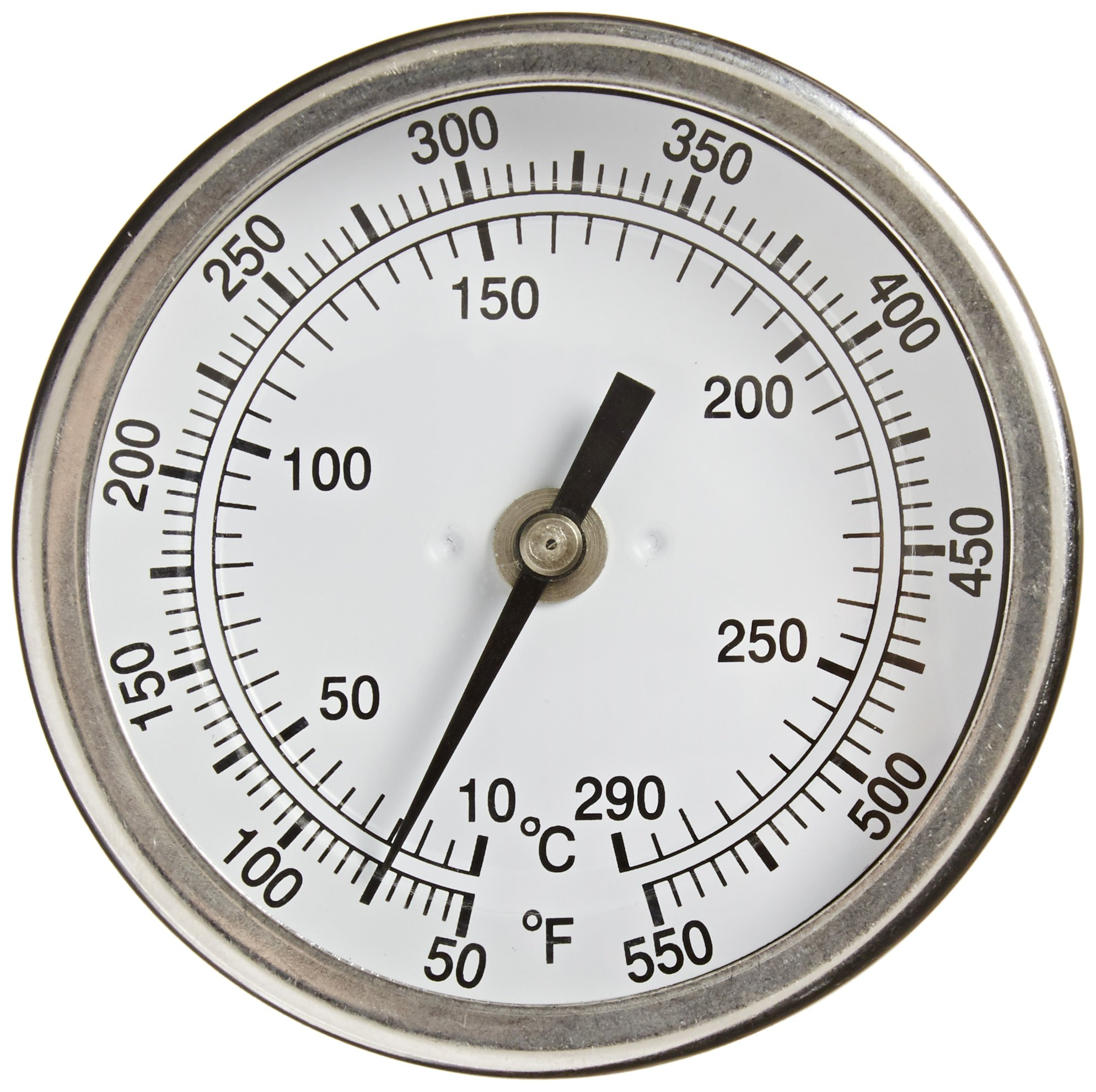"""PIC Gauge B3B4-RR 3"""" Dial Size, 50/550°F and 10/288°C, 4'' Stem Length, Back Angle Connection, Stainless Steel Case, 316 Stainless Steel Stem Bimetal Thermometer"""