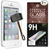 iPhone 4 / 4S Screen Protector [Set of 2] - Ballistic Tempered Glass - Maximum Impact Protection - 99.99% Crystal Clear HD Glass - No Bubbles - Cell Phone DIY® Protectors Kit for Apple iPhone 4 & 4S