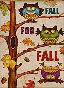 Selmad Fall Owl Garden Flag Funny Birds Double Sided, Autumn Leaves Tree Burlap Decorative House Yard Decoration, Hello Yall Harvest Quote Seasonal Home Outdoor Vintage Small Décor 12 x 18 Flag