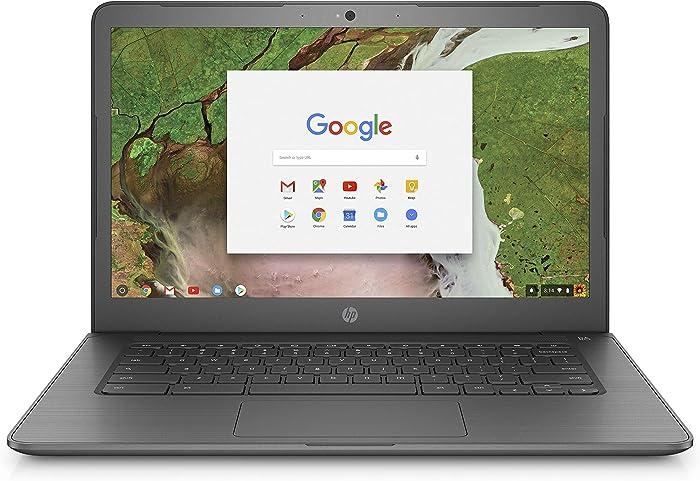 HP Chromebook 14-inch Laptop with 180-Degree Hinge, Intel Celeron N3350 Processor, 4 GB RAM, 32 GB eMMC Storage, Chrome OS (14-ca070nr, Gray)