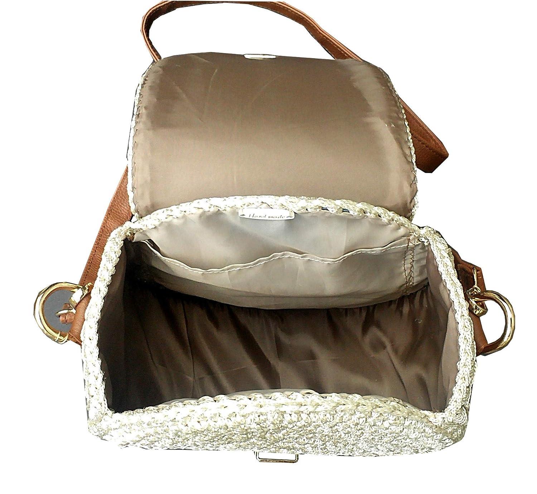 Damen Runde kleine Leder Schultertasche Braun-beige Handtasche.Gestrickte exklusive hellbraune Crossbody Tasche Echtes Leder