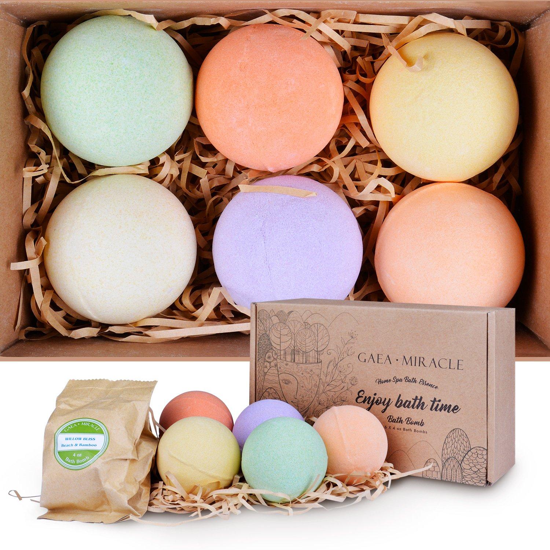 Gaea Miracle Bath Bombs Gift Set, 6 X 4.0 oz Spa Bomb Fizzies Vegan Natural Essential Oils Handmade Birthday Gift Idea for Her/Him, Wife, Girlfriend, Men, Women