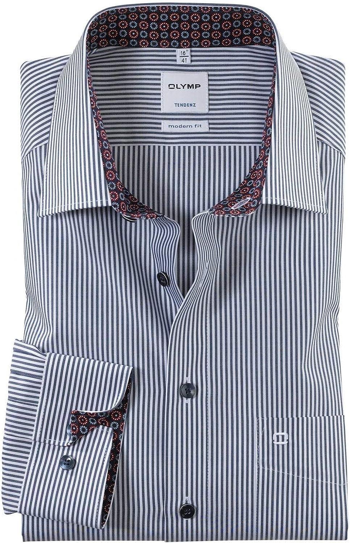 OLYMP Tendenz - Camisa de rayas blancas y azul marino: Amazon ...