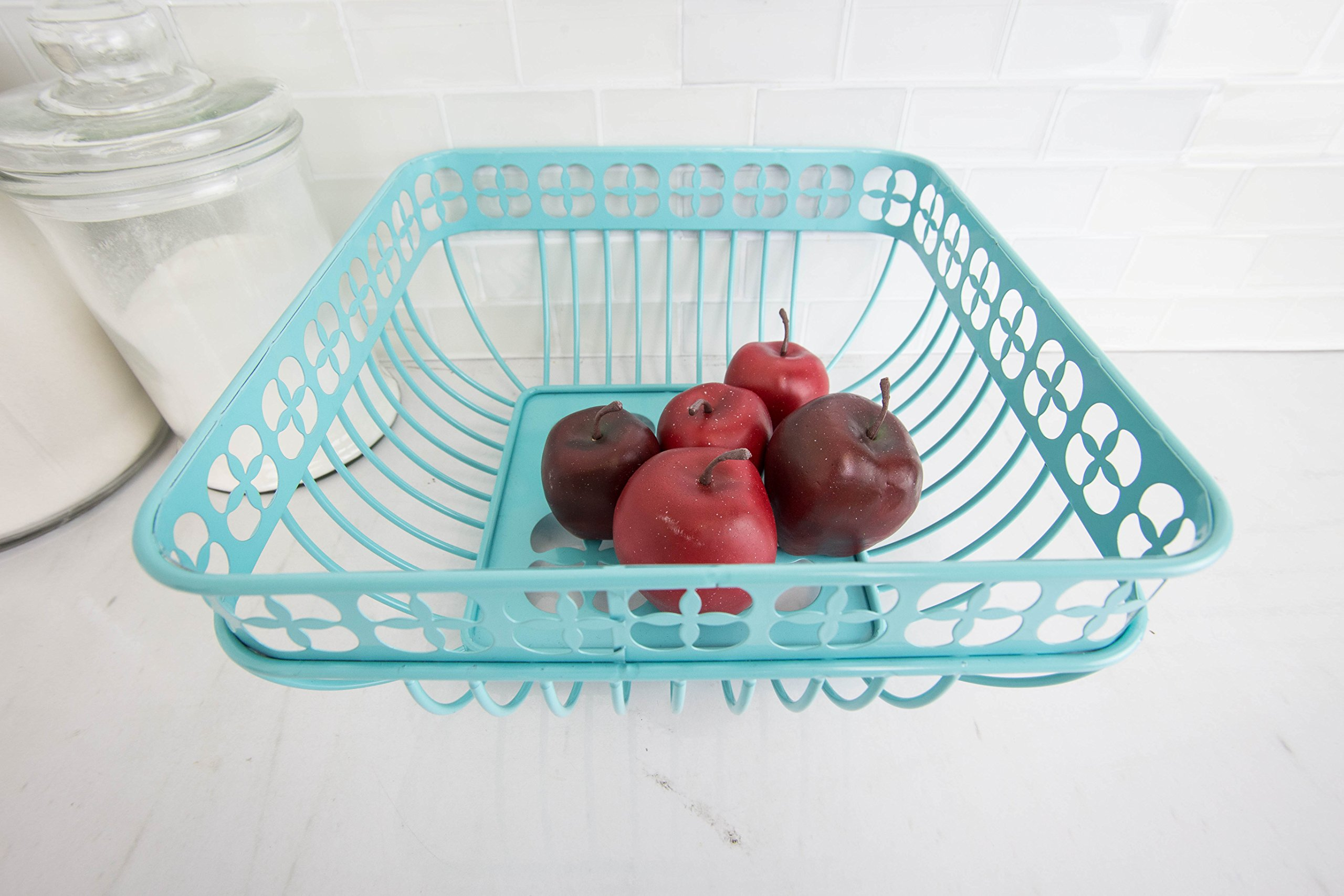 Home Basics Trinity Fruit Basket Square, Turquoise by Home Basics (Image #3)