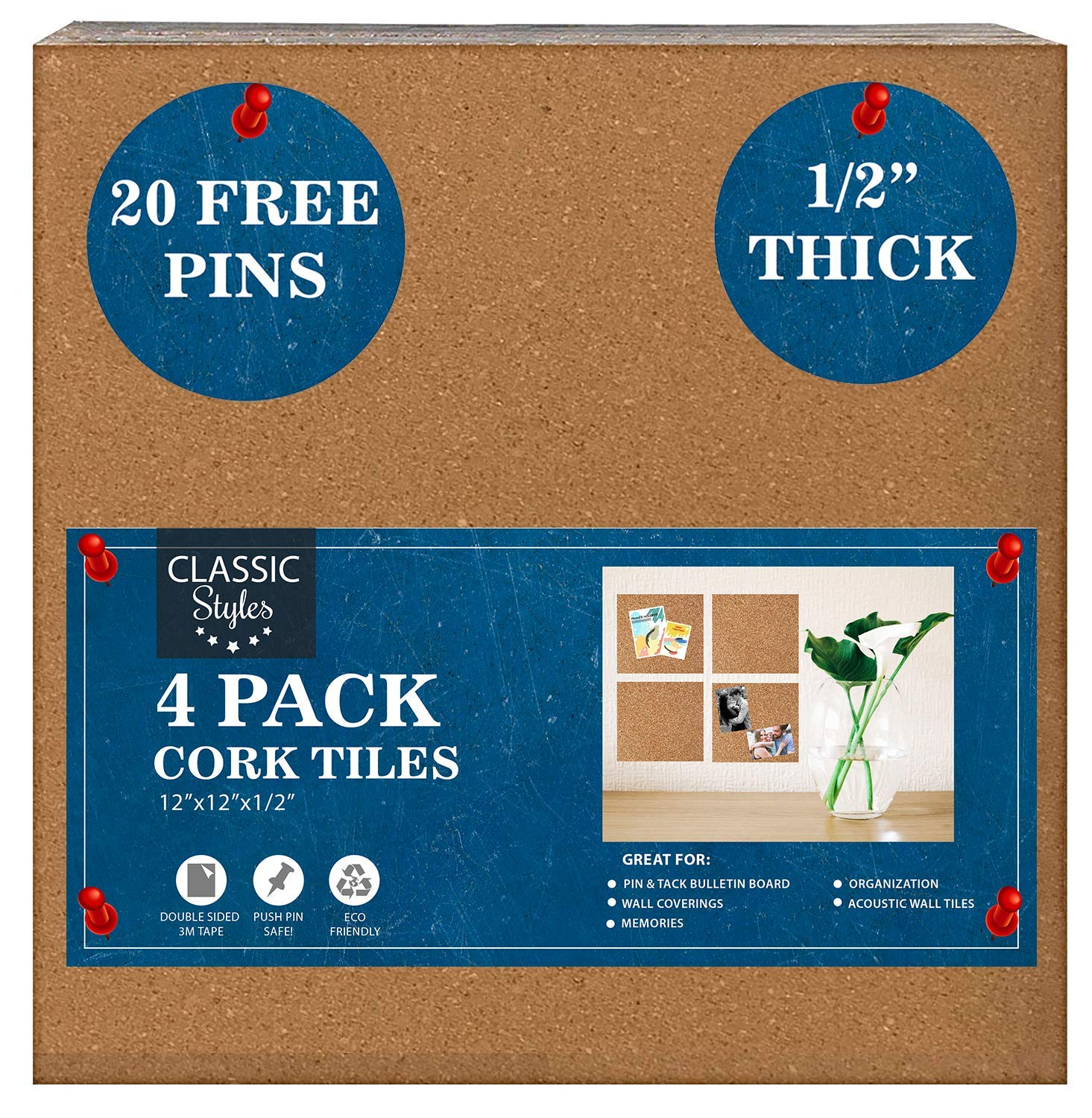 Bulletin Cork Board Tiles – Pin Board – 1/2 inch Thick with 3M Super Strong Self Adhesive – 4X12'x12' Cork Squares for Wall – Create Photo, Memory, Schedule, Goal Pin Board – Create a Wall Backsplash