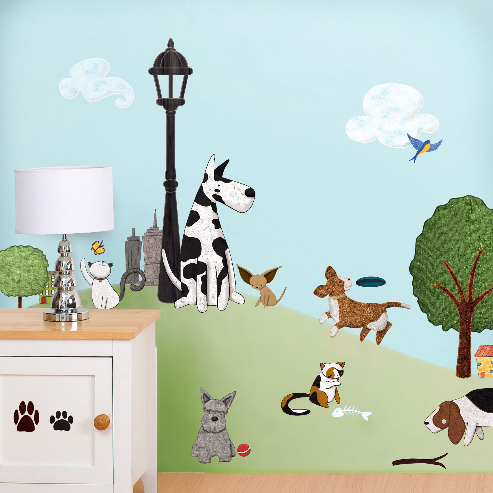 My Wonderful Walls Cat and Dog Decals Stickers for Doggie Spas/Animal Groomers/Kids Room Wall Mural, Multicolored