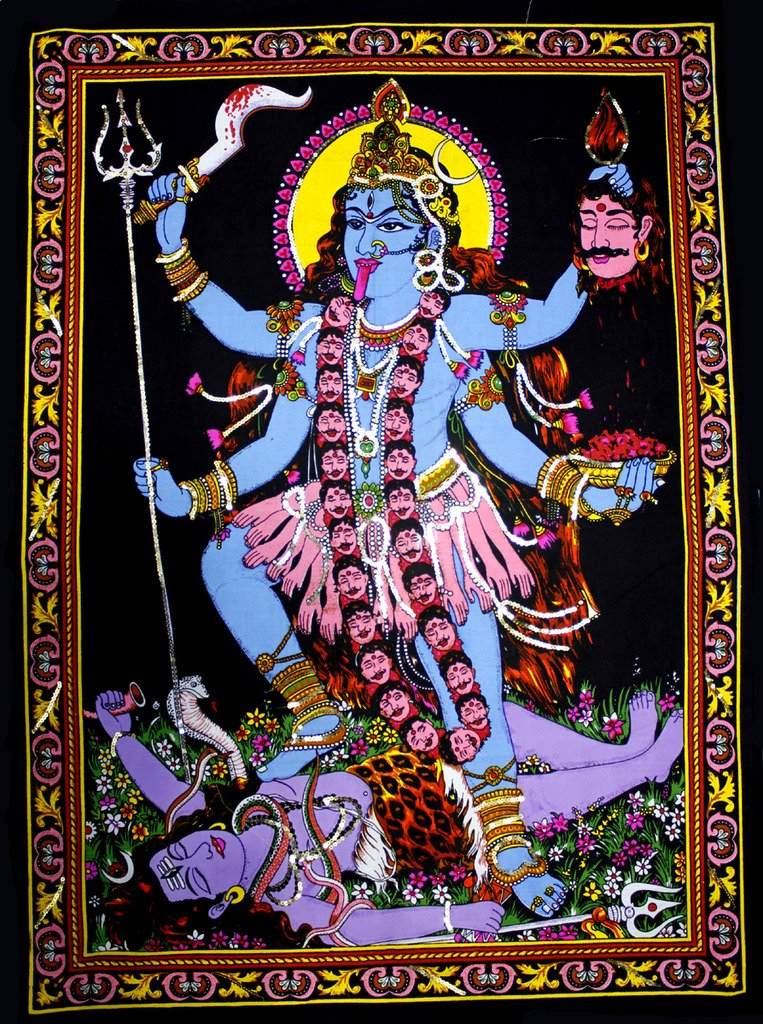 Amazing India Goddess Kali Tapestry Sequin Cotton Wall Hanging 44X30 Inches Multi Color