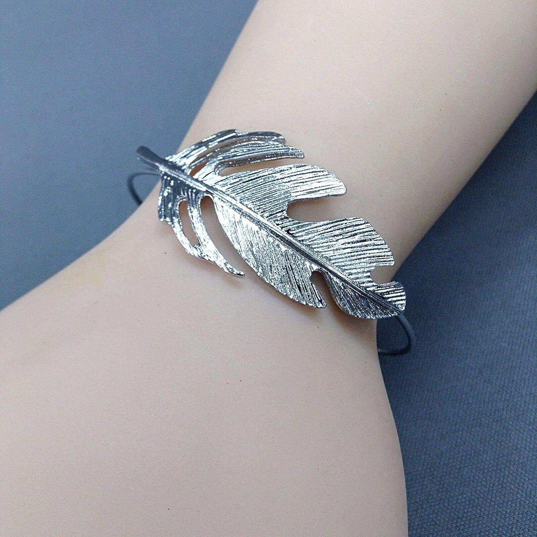 Fashionable Bohemian Style Silver Finish Leaf Design Open Cuff Bangle Bracelet LL-3395