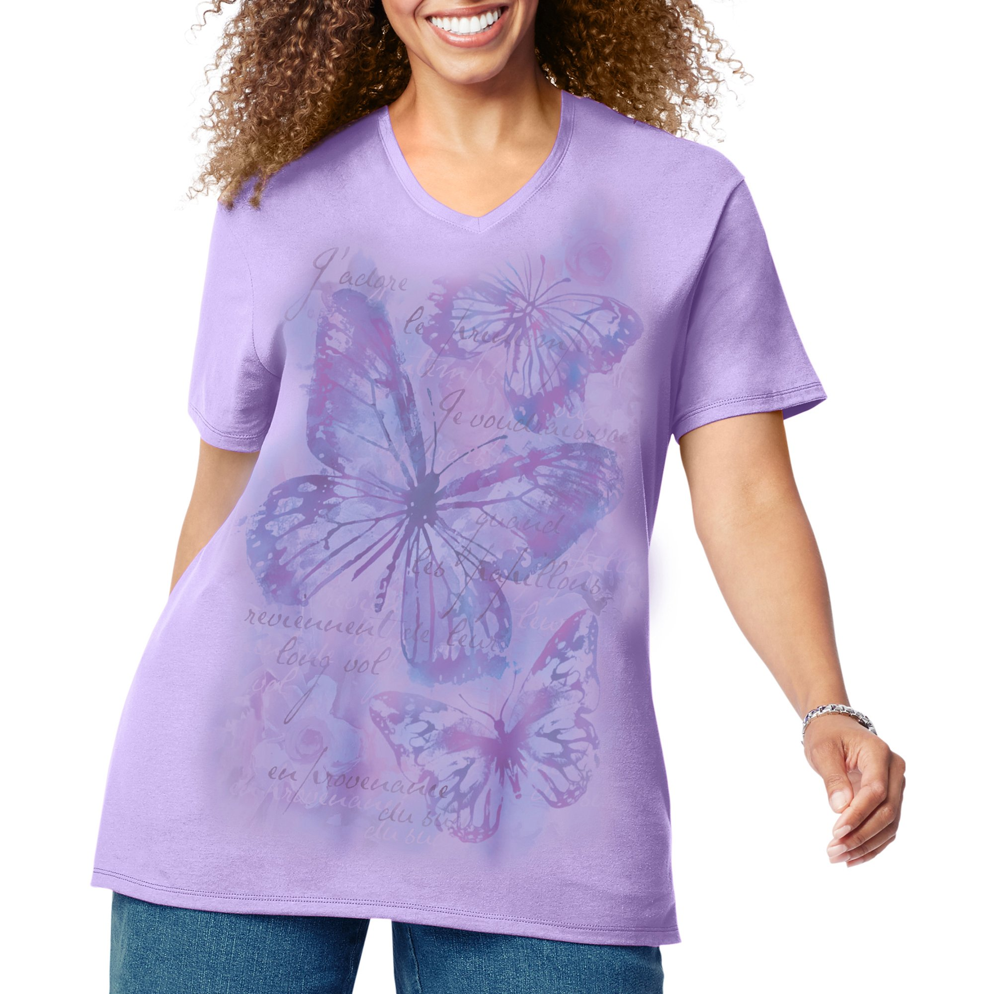 46c2007c4d853 Just My Size Women s Size Plus Printed Short-Sleeve V-Neck T-Shirt ...